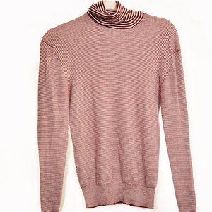 PRADA Mens Striped Turtleneck Sweater Red/White M